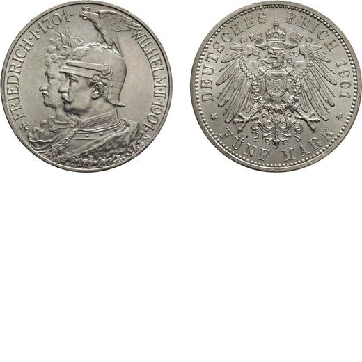 ZECCHE ESTERE. GERMANIA. PRUSSIA. GUGLIELMO II. 5 MARCHI 1901 Argento, 27,78 gr, 38 mm. SPL+/qFDC<br