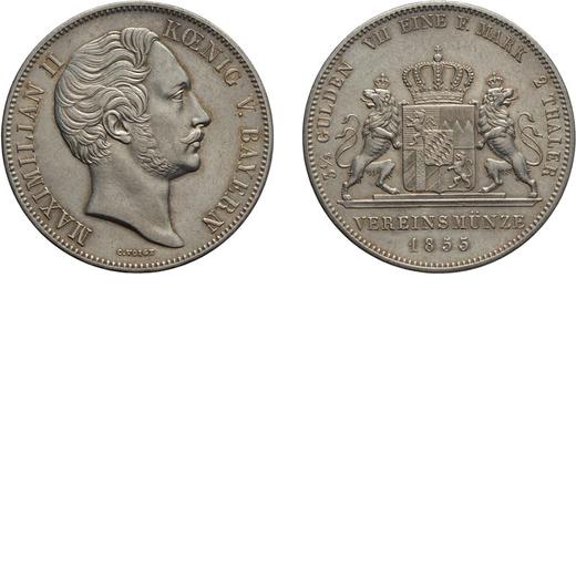 ZECCHE ESTERE. GERMANIA. BAVIERA. MAXIMILIAN II. DOPPIO TALLERO 1855 Argento, 37 gr, 41 mm. SPL+/qFD
