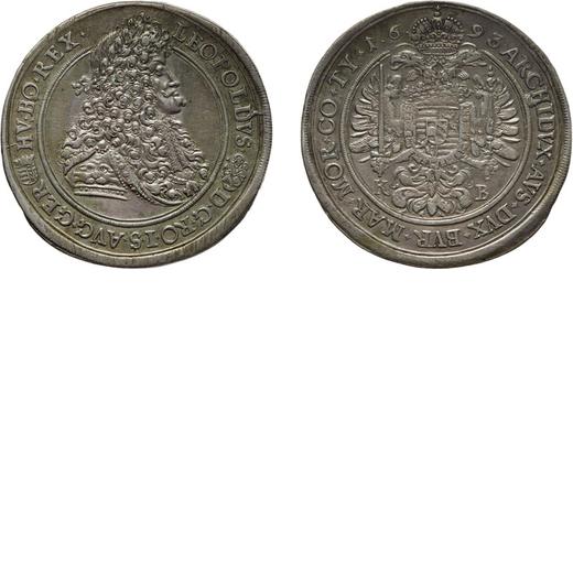ZECCHE ESTERE. UNGHERIA. KREMNICA. LEOPOLDO I. TALLERO 1693 Argento, 28,22 gr, 46 mm. QSPL, graffi d