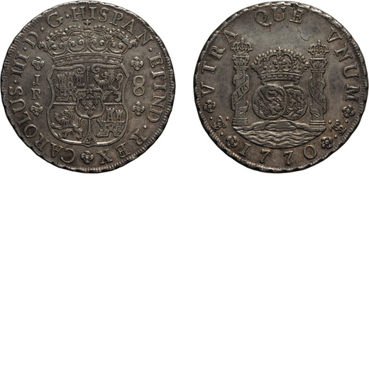 ZECCHE ESTERE. BOLIVIA. Carlo III. 8 REALI 1770 Potosì. Argento, 26,80 gr, 39,5 mm. BB+<br>D: CAROL