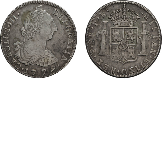 ZECCHE ESTERE. BOLIVIA. CARLO III. 8 REALI 1779 Potosì. Argento, 26,91 gr, 40 mm. BB<br>D: CAROLUS