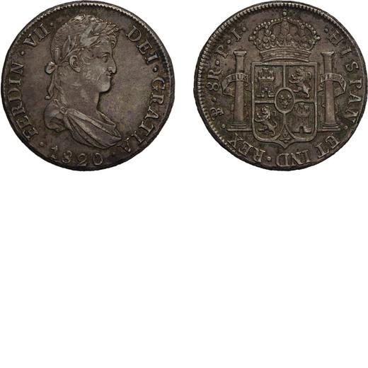 ZECCHE ESTERE. BOLIVIA. FERDINANDO VII. 8 REALI 1820 Potosì. Argento, 27,04 gr, 38 mm. BB+<br>D: FE