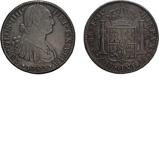 ZECCHE ESTERE. MESSICO. 8 REALI 1793 Mexico City. Argento, 26,92 gr, 38 mm. BB+<br>D: CAROLUS .IIII