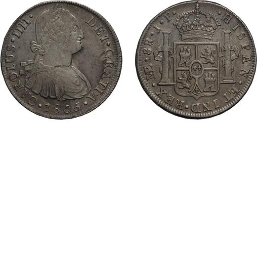 ZECCHE ESTERE. PERU. 8 REALI 1805 Lima. Argento, 27,48 gr, 39 mm. qBB<br>D: CAROLUS .IIII . DEI GRAT