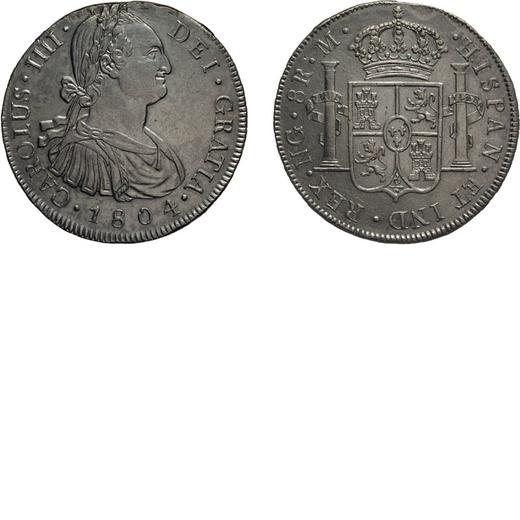ZECCHE ESTERE. NUOVA GUATEMALA. 8 REALI 1804 Argento, 26,94 gr, 39 mm.  Proveniente da montatura alt