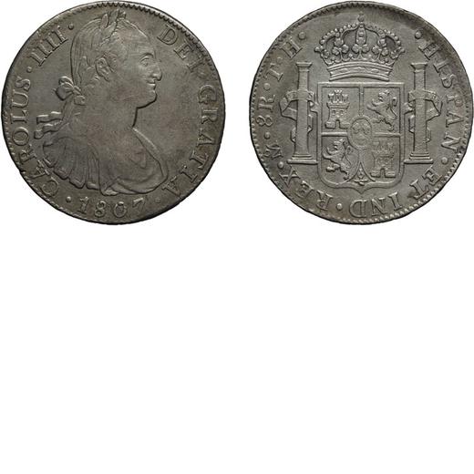 ZECCHE ESTERE. MESSICO. 8 REALI 1807 Mexico City. Argento, 25,81 gr, 39 mm. qBB<br>D: CAROLUS .IIII