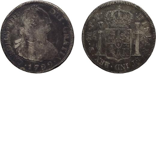 ZECCHE ESTERE. BOLIVIA. CARLO IV. 4 REALI 1799  Potosì. Argento, 13,52 gr, 33 mm. MB<br>D: CAROLUS