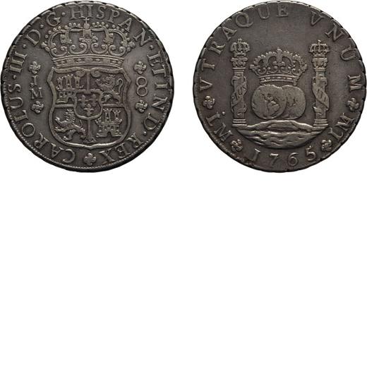 ZECCHE ESTERE. PERU. 8 REALI 1765  Lima. Argento, 26,70 gr, 39 mm. BB<br>D: CAROLVS III D G HISPAN E