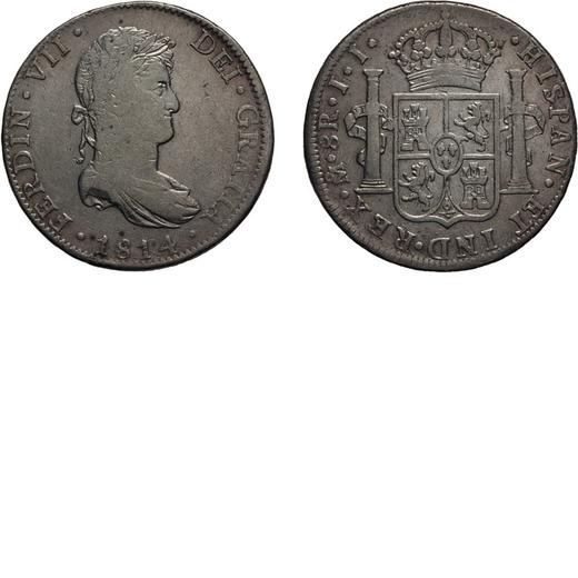 ZECCHE ESTERE. MESSICO. 8 REALI 1814 Mexico City. Argento, 26,86 gr, 39 mm. qBB<br>D: FERDIN .VII .