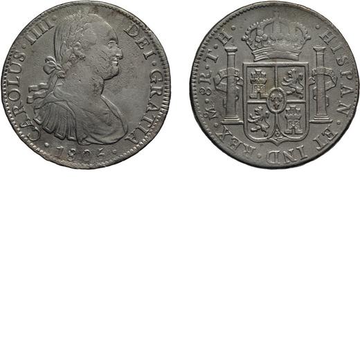 ZECCHE ESTERE. MESSICO. 8 REALI 1806 Mexico City. Argento, 25,37 gr, 39 mm. BB<br>D: CAROLUS .IIII .