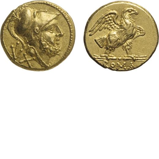 MONETE ROMANE REPUBBLICANE. 60 ASSI (211-207 A.C.)<br>Oro, 3,36 gr, 13x14 mm. Non Comune. Ben centra