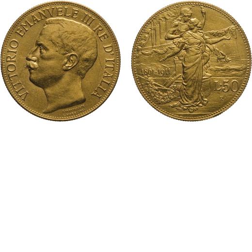 REGNO DITALIA. VITTORIO EMANUELE III. 50 LIRE 1911 Roma. Oro, 16,14 gr, 28 mm. BB/BB+<br>D: Testa de