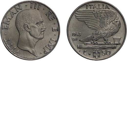 REGNO DITALIA. VITTORIO EMANUELE III. 50 CENTESIMI IMPERO 1943 Roma. Nichelio, 6 gr, 24 mm. FDC. <br