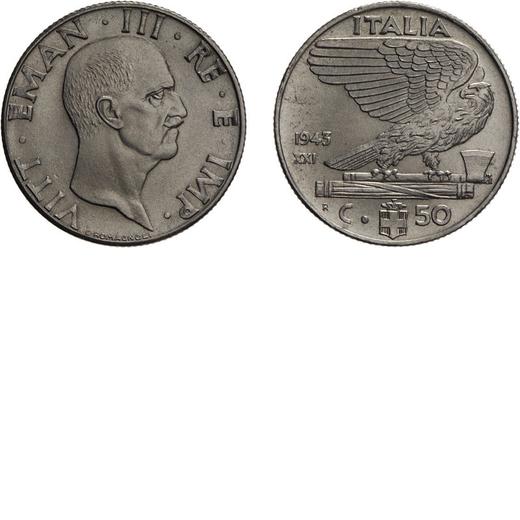 REGNO DITALIA. VITTORIO EMANUELE III. 50 CENTESIMI IMPERO 1943 Roma. Nichelio, 6 gr, 24 mm. qFDC. <b
