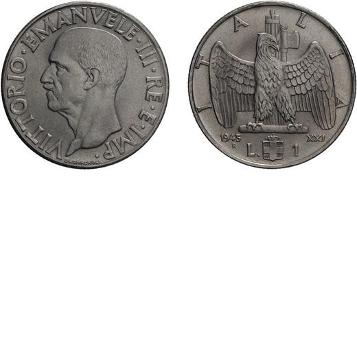 REGNO DITALIA. VITTORIO EMANUELE III. 1 LIRA IMPERO 1943 Roma. Nichelio, 8,02 gr, 26,5 mm. qFDC.<br>