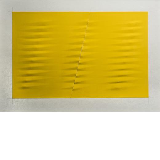 AGOSTINO BONALUMI Vimercate 1935 - Desio 2013<br>Giallo, 1999<br>Incisione a secco su carte serigraf