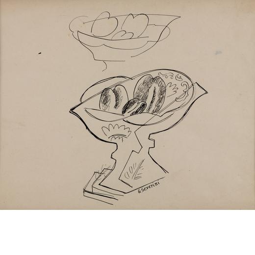 GINO SEVERINI Cortona (Ar) 1883 - Parigi 1966<br>Nature morte au compotier avec fruits, 1940 circa<b