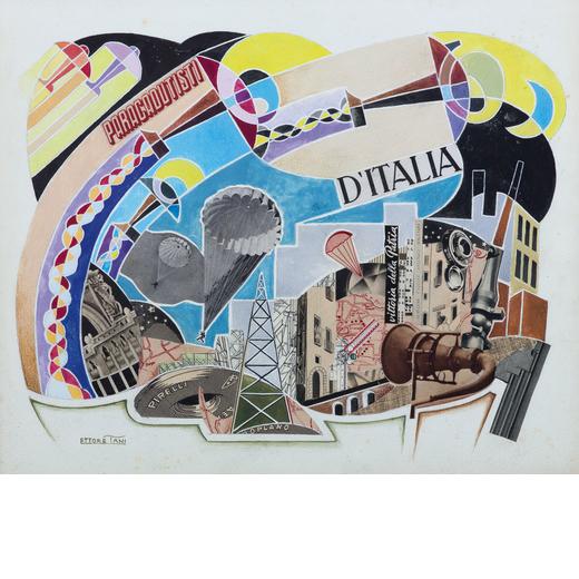 ETTORE TANI attivo nel XX secolo<br>Aeropittura<br>Tecnica mista e collage su cartoncino, cm 30,8 x