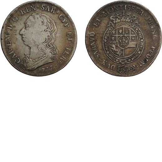 CASA SAVOIA. REGNO DI SARDEGNA. CARLO EMANUELE III. SCUDO DA SEI LIRE 1755 Argento, 34,68 gr, 44 mm.