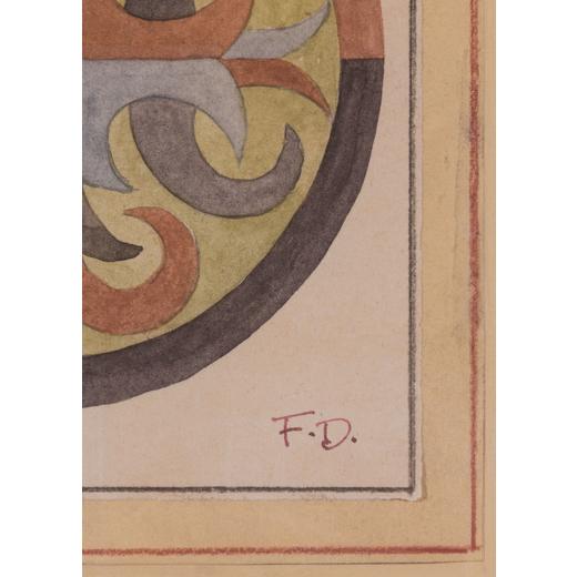 FORTUNATO DEPERO Fondo 1892 - Rovereto 1960<br>Arabesco (studio per cuscino), 1923 circa<br>Matita e