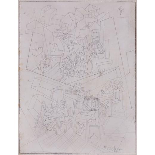 FORTUNATO DEPERO Fondo 1892 - Rovereto 1960<br>Dentro e fuori losteria (studio per dipinto), 1925<br