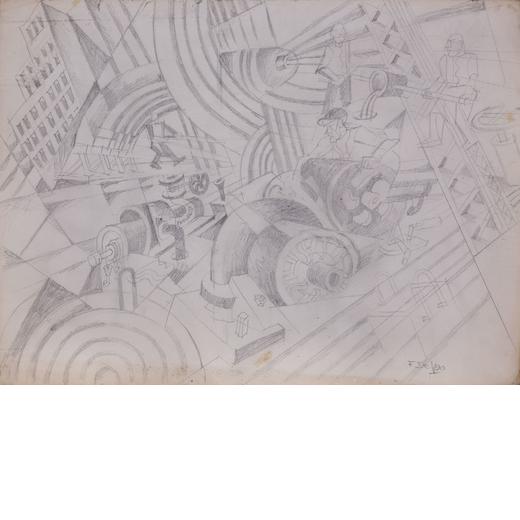 FORTUNATO DEPERO Fondo 1892 - Rovereto 1960<br>Cantiere sonoro (studio per dipinto), 1932-33<br>Mati