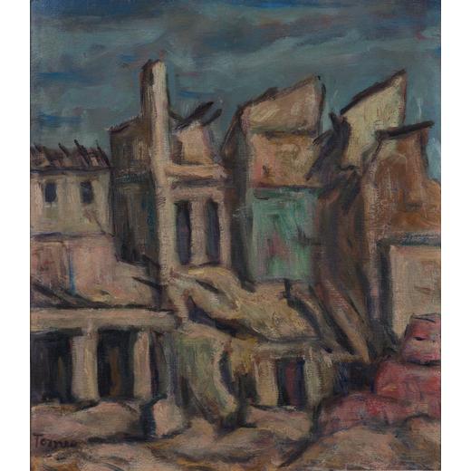 FIORENZO TOMEA Zoppe Di Cadore 1910 - Milano 1960<br>Città, 1946<br>Olio su tavola, cm 27,5 x 23,7<