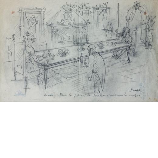 NATINGUERRA AMERIGO BARTOLI Terni 1890 - Roma 1971<br>Senza titolo<br>Matita su carta, cm 28 x 43<br