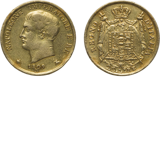 ZECCHE ITALIANE. MILANO. NAPOLEONE I (1805-1814). 20 LIRE 1809 Oro, 6,40 gr, 21 mm. MB/MB+. Rara.<br