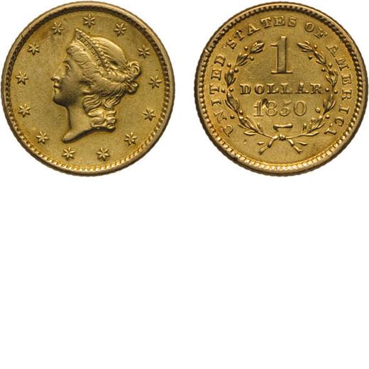 ZECCHE ESTERE. STATI UNITI DAMERICA. 1 DOLLARO 1850 Oro, 1,66 gr, 12 mm, MB+<br>D: Testa di Liberty