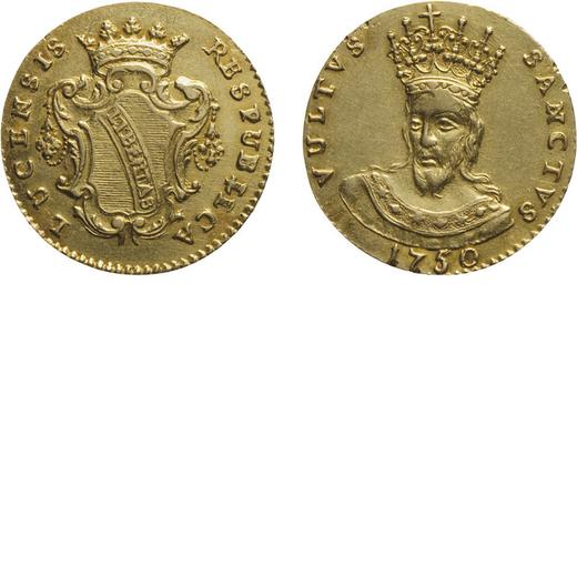 ZECCHE ITALIANE. REPUBBLICA DI LUCCA (1369-1769). DOPPIA 1750 Oro, 5,26 gr, 20 mm, minimi segni di m