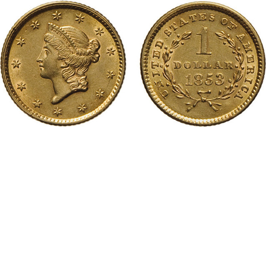 ZECCHE ESTERE. STATI UNITI DAMERICA. 1 DOLLARO 1853 Oro, 1,66 gr, 13 mm. qSPL<br>D: Testa di Liberty