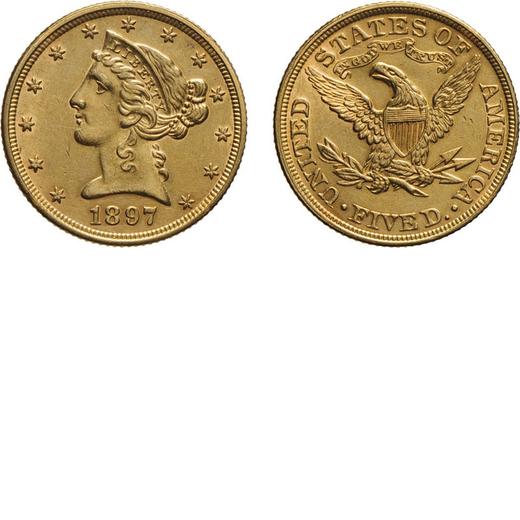 ZECCHE ESTERE. STATI UNITI DAMERICA. 5 DOLLARI 1897 Oro, 8,34 gr, 21 mm,<br>D: Testa di Liberty volt