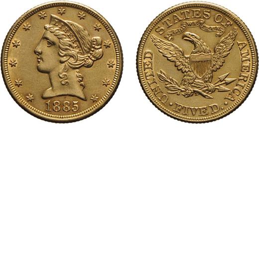 ZECCHE ESTERE. STATI UNITI DAMERICA. 5 DOLLARI 1885 Oro, 8,36 gr, 21 mm,<br>D: Testa di Liberty volt