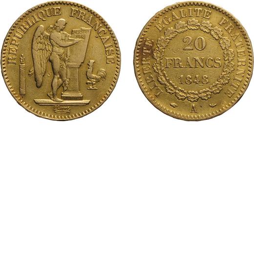 ZECCHE ESTERE. FRANCIA. SECONDA REPUBBLICA (1848-1852). 20 franchi 1848 Parigi. Oro, 6,42 gr, 21 mm,
