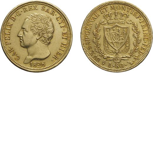 CASA SAVOIA. REGNO DI SARDEGNA. CARLO FELICE. 80 lire 1826 Torino. Oro, 25,80 gr, 32,5 mm, tracce di