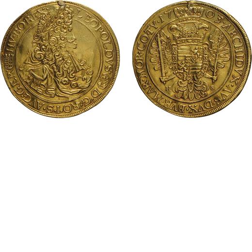 ZECCHE ESTERE. UNGHERIA. LEOPOLDO I (1657-1705). 5 DUCATI 1703 Nagybanya. Oro, 17,02 gr, 45 mm,  app