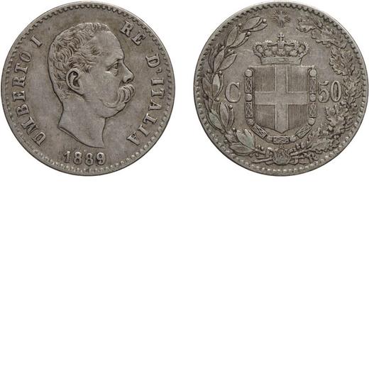 REGNO DITALIA. UMBERTO I. 50 CENTESIMI 1889 Roma. Argento, 2,50 gr, 18 mm. Rara. qBB<br>D: UMBERTO I