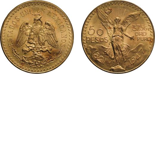 ZECCHE ESTERE. MESSICO. 50 PESOS 1947 Oro, 41,73 gr, 37 mm, BB/SPL<br>D: Divisa messicana con aquila