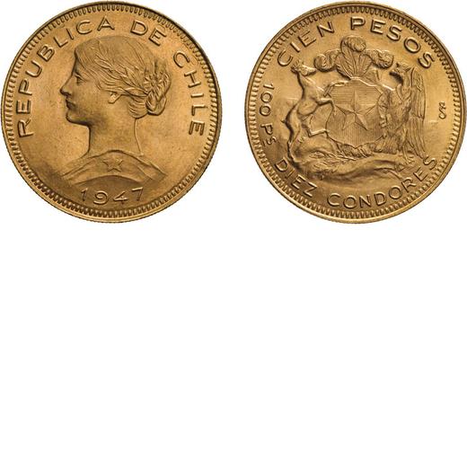 ZECCHE ESTERE. CILE. 100 PESOS 1947 Oro, 20,35 gr, 31 mm, BB/SPL<br>D: Testa a sinistra. Sotto data.