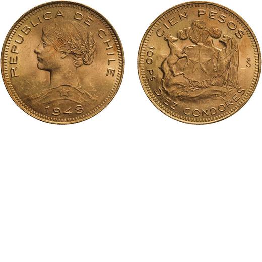 ZECCHE ESTERE. CILE. 100 PESOS 1948 Oro, 20,35 gr, 31 mm, BB/SPL<br>D: Testa a sinistra. Sotto data.
