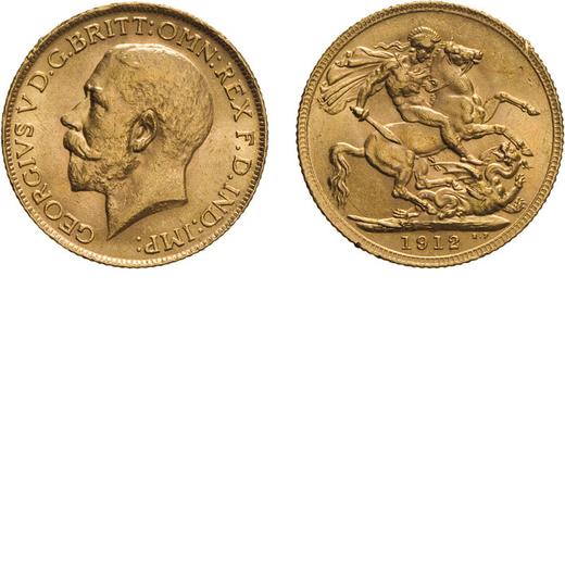 ZECCHE ESTERE. INGHILTERRA. GIORGIO V. STERLINA 1912 Oro, 8 gr, 22 mm, BB.<br>D: Testa a sinistra<br