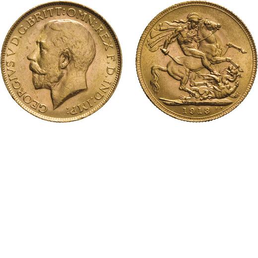 ZECCHE ESTERE. INGHILTERRA. GIORGIO V. STERLINA 1913 PERTH Oro, 8 gr, 22 mm, BB.<br>D: Testa a sinis