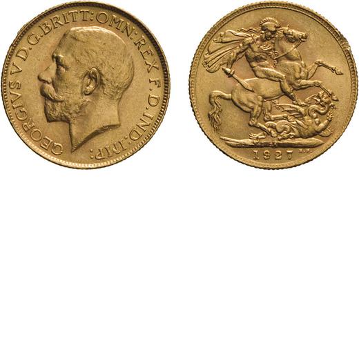 ZECCHE ESTERE. INGHILTERRA. GIORGIO V. STERLINA 1927 Oro, 8 gr, 22 mm, BB.<br>D: Testa a sinistra<br