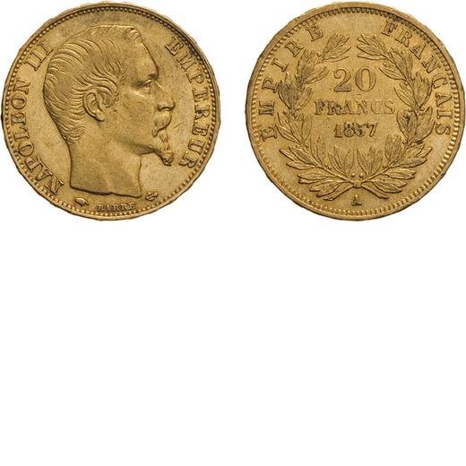ZECCHE ESTERE. FRANCIA. NAPOLEONE III. 20 FRANCHI 1857  Parigi. Oro, 6,44 gr, 21 mm, MB/qBB<br>D: Te