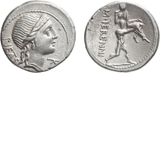 MONETE ROMANE REPUBBLICANE.  GENS HERENNIA (108-107 A.C.). DENARIO<br>M. Herennius. Roma. Argento, 3