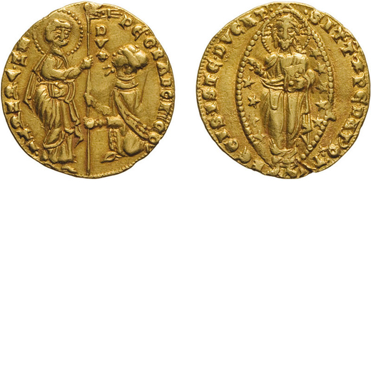 ZECCHE ITALIANE. VENEZIA. PIETRO GRADENIGO (1289-1311). DUCATO Oro, 3,49 gr, 19 mm. BB+<br>D: PE GRA