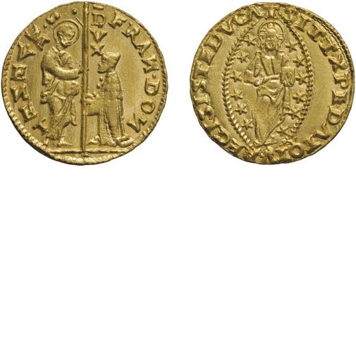 ZECCHE ITALIANE. VENEZIA. FRANCESCO DONÀ (1545-1553). ZECCHINO Oro, 3,50 gr, 20,5 mm. BB+<br>D: FRA