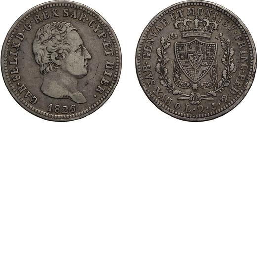 CASA SAVOIA. REGNO DI SARDEGNA. CARLO FELICE. 2 LIRE 1826  Genova. Argento, 9,87 gr, 26 mm. MB+.<br>