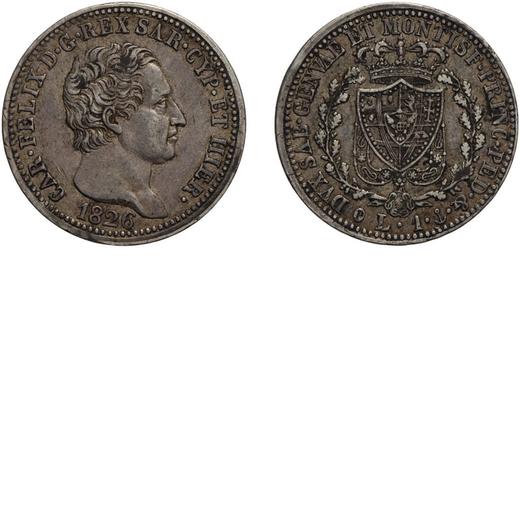 CASA SAVOIA. REGNO DI SARDEGNA. CARLO FELICE. 1 LIRA 1826 Genova. Argento, 5,02 gr, 23 mm. qBB<br>D: